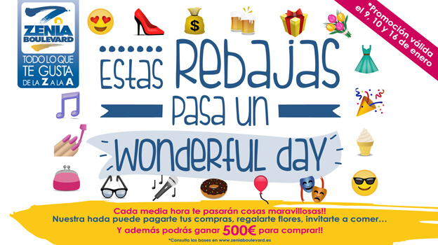 ¿Encontraste al Hada Madrina de Zenia Boulevard? Durante los fines de semana del 8, 9 y 16 de Enero de 2016, nuestra Hada Madrina pagó la peluquería, la compra de la semana o la ropa a más de 40 clientes ... Las Rebajas son Wonderful en Centro Comercial Zenia Boulevard!!! #RebajasEnZenia #WonderfulDayZenia Y recuerda que todos los meses Zenia Bouelvard está cargado de Eventos y Promociones, en zeniaboulevard.es/promociones